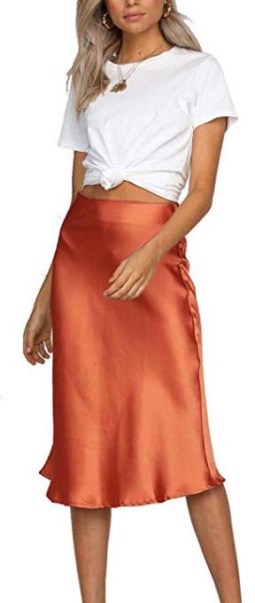 Junxiang Women's Sexy Leopard Print High Waist Pencil Midi Skirt orange