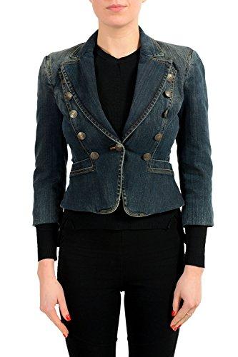Just Cavalli Denim One Button Women's Basic Jacket US S IT 40
