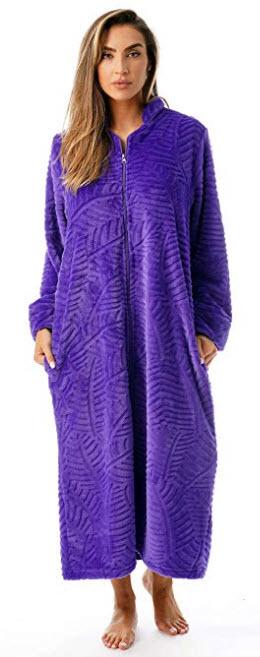Just Love Plush Zipper Lounger Robe purple