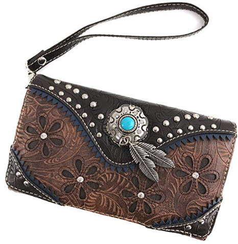 Justin West Turquoise Stone Concho Feathers Western Tooled Studs Concealed Carry Handbag Purse,  ...