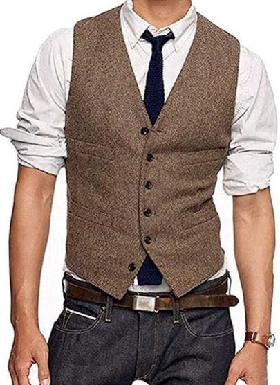 JYDX Men's Brown Wool Herringbone Groom Vest