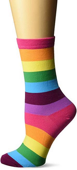 K. Bell Socks Women's Rainbow Stripe Crew Socks Sockshosiery