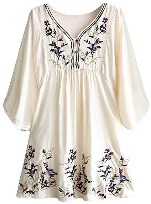 Kafeimali Women's Summer Mini Dress Bohemian Embroidery Tunic Shift Blouse, beige