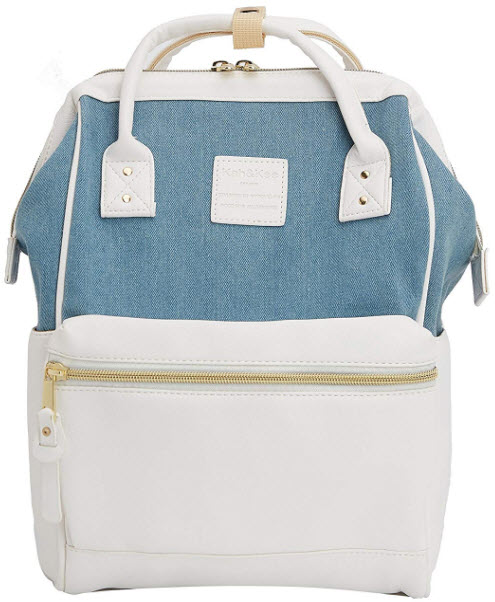 Kah&Kee Backpack Purse Leather Canvas Splice Bag Travel Fashion for Women Man Small (Light B ...