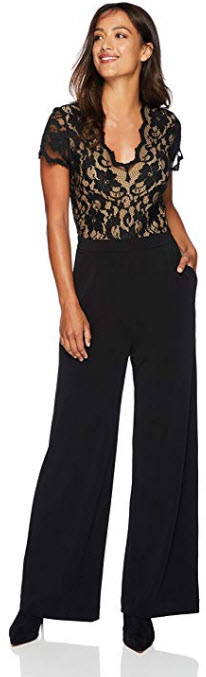 Karen Kane Women's Contrast Lace Jumpsuit black with nude