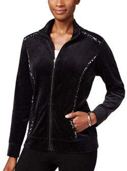 Karen Scott Womens Petites Velour Animal Print Sweatshirt  deep black