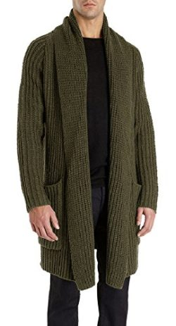 Karlywindow Men's Knitted Shawl Collar Cable Draped Open Front Long Cardigan Sweater