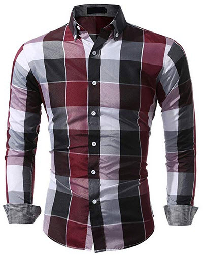 KASAAS Shirts for Men Plaid Button Down V-Neck Tartan Long Sleeve Fastener Slim Fit Casual Tops  ...