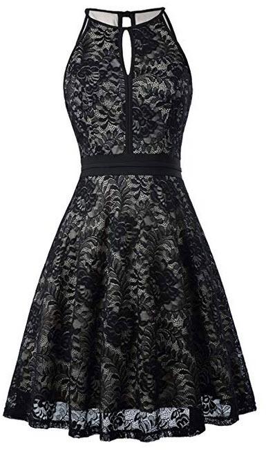 Kate Kasin Lace Halter Sleeveless A-Line Keyhole Wedding Party Formal Dress KK638 black