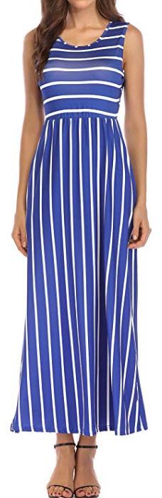 KAY SINN Womens Summer Sleeveless Maxi Dress Striped Long Dresses with Pockets, blue