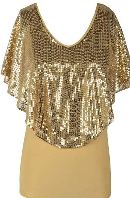 kayamiya Women's Sequin Blouse Glitter Drape Short Sleeve Sparkly Cocktail Party Tops