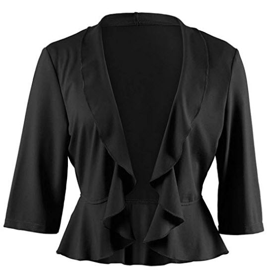 KENANCY Women's Open Front Cropped Cardigan 3 4 Sleeve Shrugs Jacket Draped Ruffles Lightweight  ...