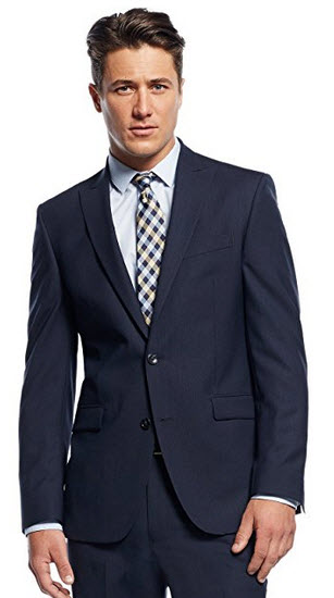Kenneth Cole Navy Striped 100% Wool Two Button New Men's Sport Coat.