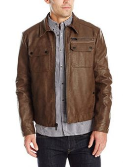 Kenneth Cole New York Men's Faux Suede Zip Front Jacket.