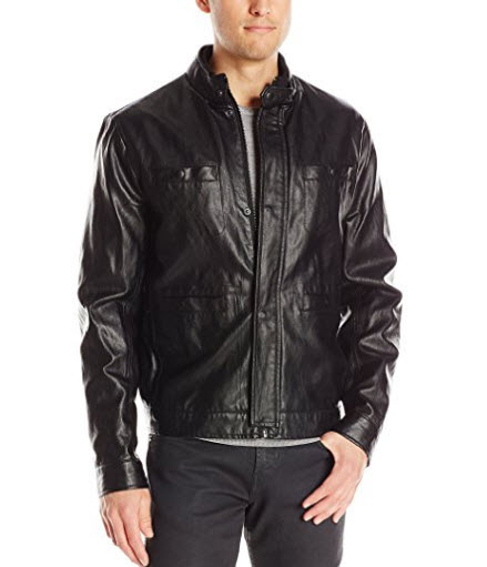 Kenneth Cole New York Men's Faux-Leather Moto Jacket.
