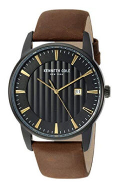 Kenneth Cole New York Men's Quartz Stainless Steel and Leather Casual Watch, brown