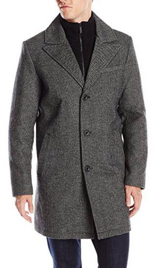 Kenneth Cole New York Men's Walker Coat with Knit Bib.