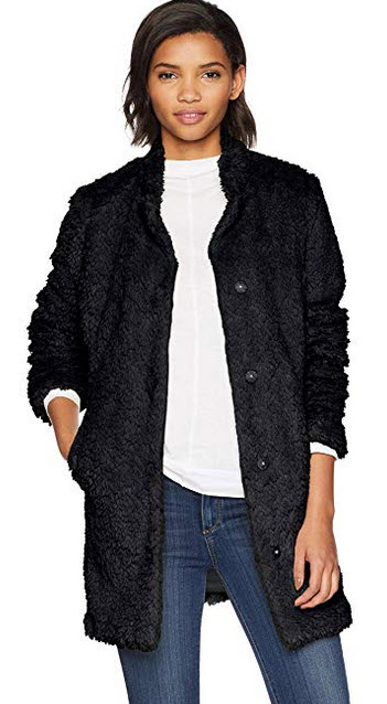 Kenneth Cole New York Womens Mid Length Snap Faux Fur Coat with Texture black