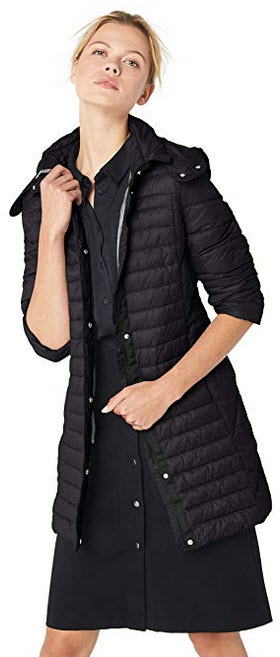 Kenneth Cole New York Women's Thigh Length Zip Puffer Jacket with Hood black
