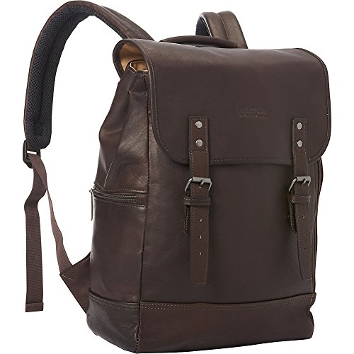 Kenneth Cole Reaction Colombian Leather Single Gusset Flapover Computer Backpack, 14.1″