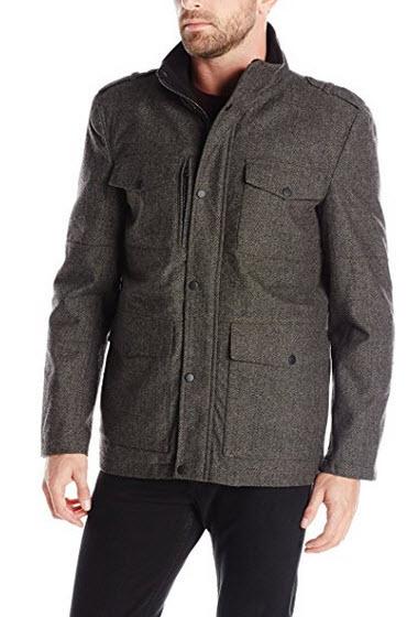 Kenneth Cole REACTION Men's Herringbone Wool Four Pocket Coat.