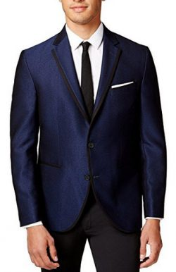 Kenneth Cole Slim Fit Navy Textured Two Button new Men's Sport Coat.