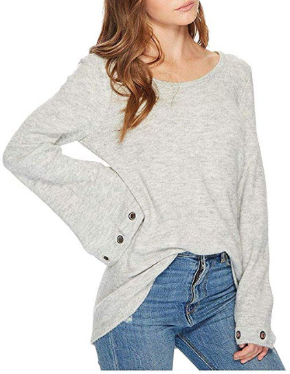 kensie Womens Grommet Bell Sleeve Pullover Sweater, light grey heather