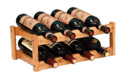 kework 8 Bottles Wine Rack, 2 Tier Nature Bamboo Wine Display Rack, Tabletop Wine Rack, Desktop  ...