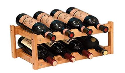 kework 8 Bottles Wine Rack, 2 Tier Nature Bamboo Wine Display Rack, Tabletop Wine Rack, Desktop  ...