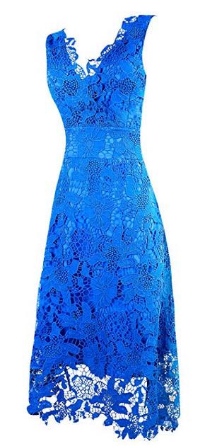 KIMILILY Womens Elegant V Neck Bridesmaid Lace Cocktail Dress blue