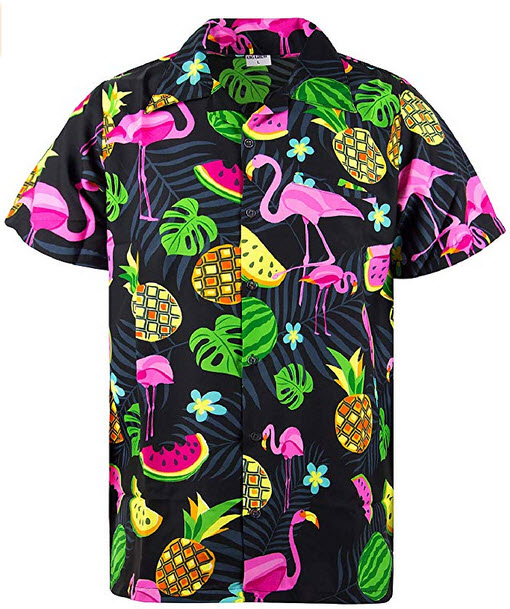 King Kameha Funky Hawaiian Shirt Men Shortsleeve Frontpocket Hawaiian-Print Melon Flamingo Fruit ...