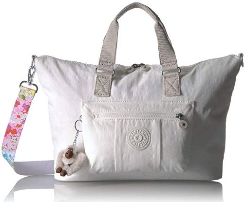 Kipling Camden Solid Crossbody Bag with A Floral Printed Strap, alabaster