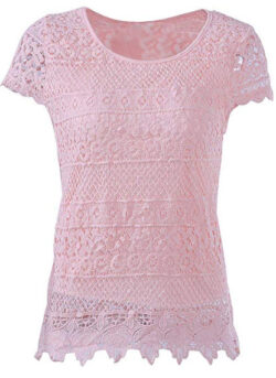 KMHZ Women's Short Sleeve Lace Blouse Elegant Sheer Tops Shirt Mesh Lace Splice Peplum Fancy Top ...