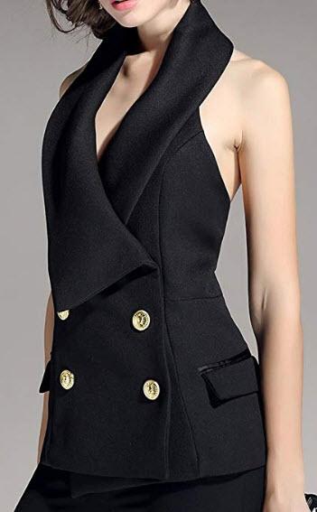 KoHuiJoo Office Vest for Women, Halter Dressy Vests Waistcoat, Sleeveless Jacket Work Suit Coat, ...