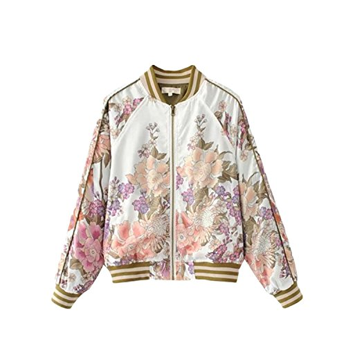 Kongsta Jacket Women Long Sleeve Coats Girl Bombers Black Floral Printed Coat Basic Jackets New  ...