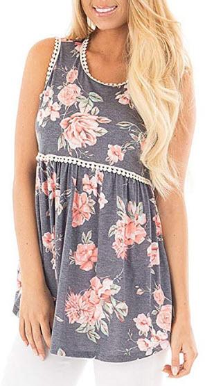 KUREAS Women's Sleeveless Shirt Floral Print T-Shirt Summer Loose Tank Top, grey