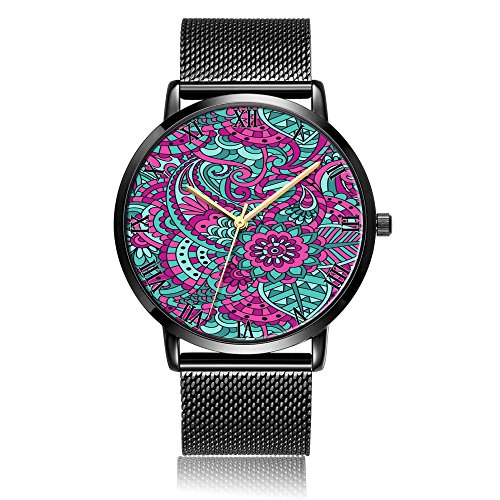 Kusa Fashion Floral Pattern Wrist Watch, Floral Pattern Pattern Design Silver Steel with Stainle ...