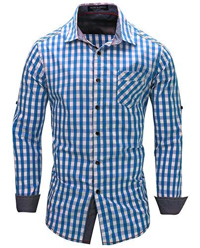 Kuson Men's Casual Plaid Shirts Cotton Long Sleeve Collar Classic Checkered
