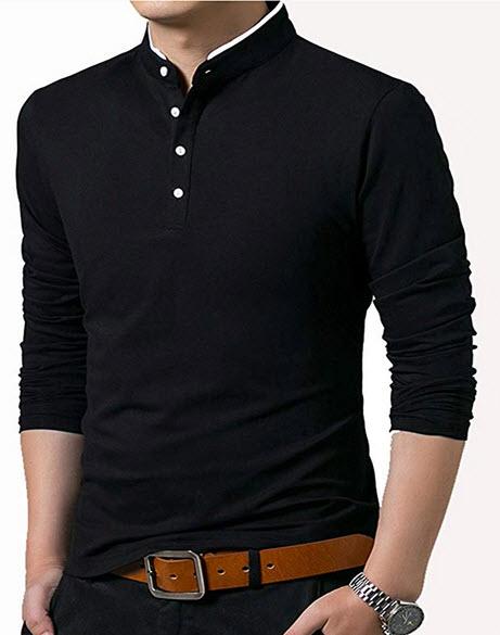 KUYIGO Men's Casual Slim Fit Pure Color Long Sleeve Polo Fashion T-Shirts black