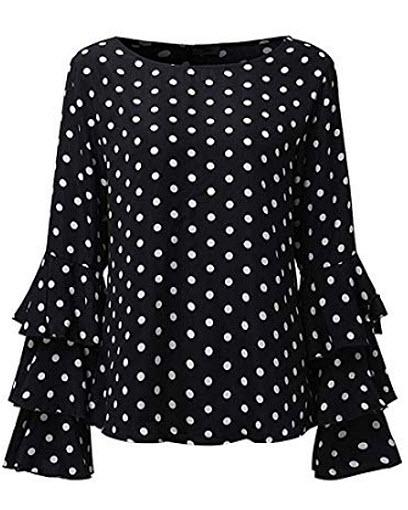 Kyerivs Women's Blouses Polka Dot Ruffled Flounce Long Sleeve Elegant Tee Tops Casual Shir ...