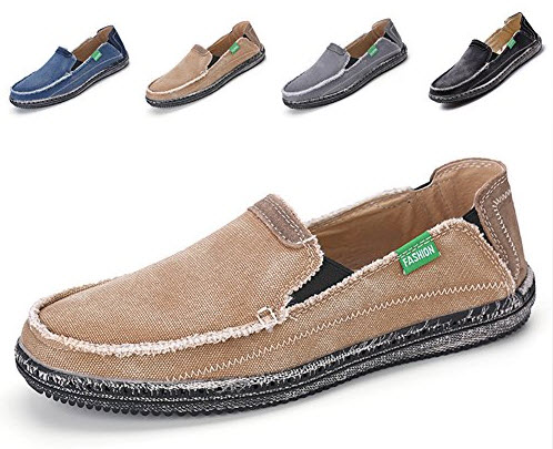 L-RUN Men's Cloth Shoes Slip-On Canvas Loafers Outdoor Leisure Walking.