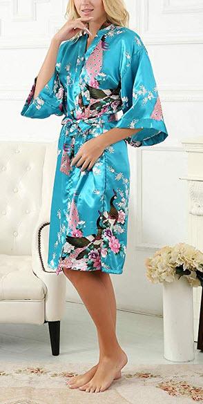 La Dearchuu Satin Kimono Robes for Women Plus Size, Printing Peacock Lingerie Robe for Brides We ...