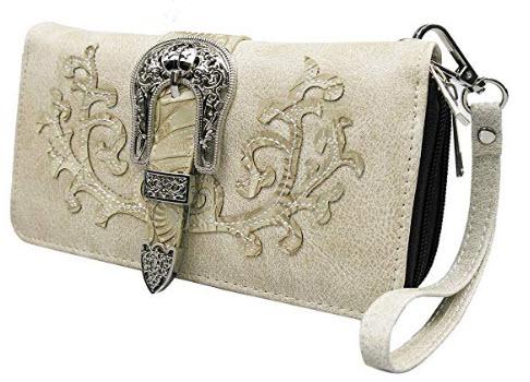 La Dearchuu Western Handbag and Western shoulder Purse with Western Wristlet for Women, beige