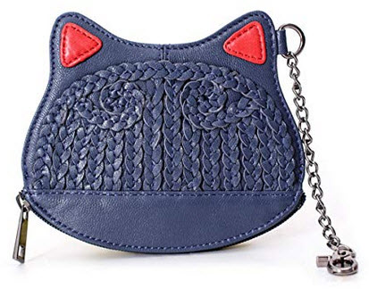 La Poet Leather Cat Kitten Coin Purse Zip Around Wallet Pouch Case Wristlet with Gift Box navy