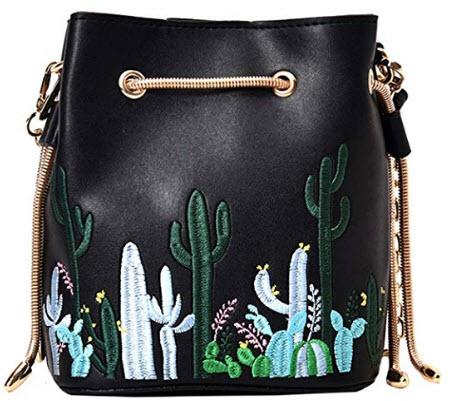LABANCA Womens Mini Bucket Purse Floral Shoulder Bag with Drawstring Chain Cross Body Bag black