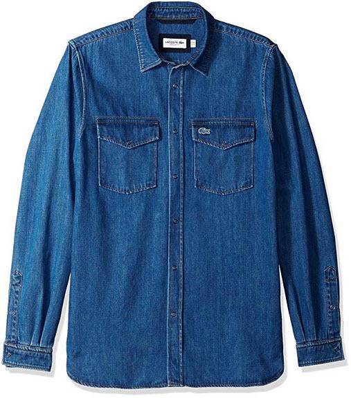 Lacoste Men's Long Sleeve Reg Fit Blue Pack Denim Button Down deep medium