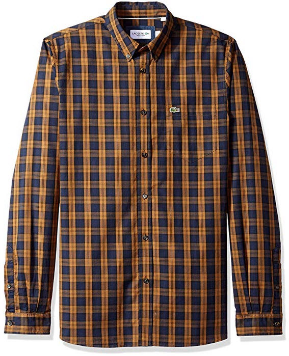 Lacoste Men's Long Sleeve Reg Fit Plaid Button Down Renaissance Brown/Meridian