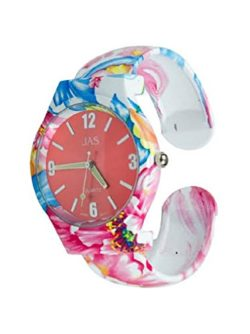 Ladies Floral Pattern Red and Blue Beautiful Round Face Bracelet Bangle Watch