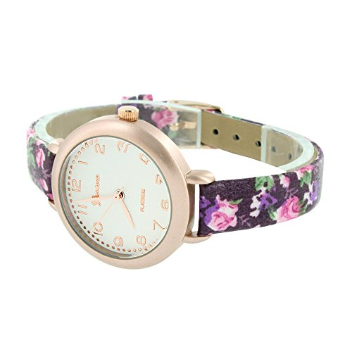 Ladies Rose Gold Watch Womens Girls Purple Floral Design Band Jojo Jojino New