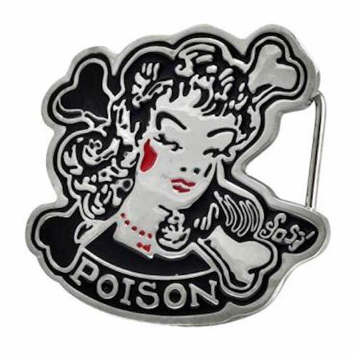 Lady & Crossbones Poison Belt Buckle Music Band Rock N' Roll